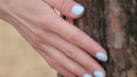 Female hand is touching the air on the background of the lake. Nature and harmony with the touch of the hand stock footage