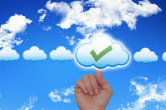 Female Hand Touching Cloud and Ticking Check Box Royalty Free Stock Photo