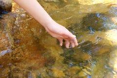 Female hand touching fresh stream water Stock Photography
