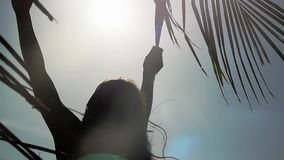 Female hand touching palm leaf through the sun. Woman enjoying bright tropical sun with lens flare effects in slow. Motion. 1920x1080, hd stock video footage