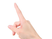 Female hand touching or pointing to something. Stock Photography