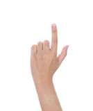 Female hand touching or pointing to something Royalty Free Stock Images