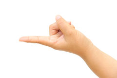 Female hand touching or pointing to something isolated Stock Images