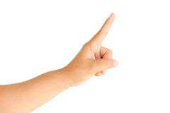 Female hand touching or pointing to something isolated Stock Photography