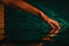 Free Female Hand Touching Stylized Designer Brick Glass Wall Stock Image - 137146781