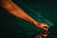 Free Female Hand Touching Stylized Designer Brick Glass Wall Stock Image - 137146791