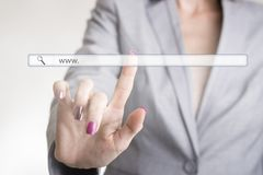 Female hand touching a website navigation bar Royalty Free Stock Photo