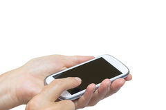 Female hand is toucing smart phone isolated on the white Stock Image