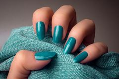 Turquoise nails manicure Royalty Free Stock Images
