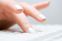Female hand typing on computer keyboard Royalty Free Stock Photography