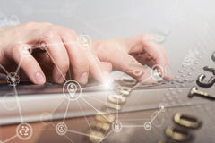 Female hand typing on laptop computer keyboard. Internet security concept Stock Photo