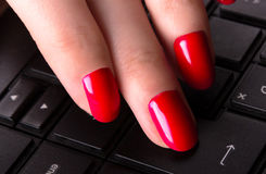 Female hand typing on laptop keyboard Stock Photos