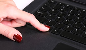 Female hand using computer keyboard Royalty Free Stock Photography