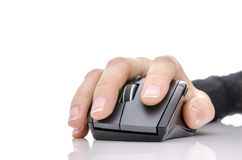 Female hand using a computer mouse Stock Image