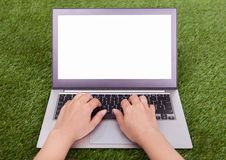 Female hand using laptop Royalty Free Stock Image