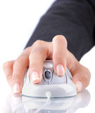 Female hand using mouse. Gesture of female hand using white mouse Royalty Free Stock Images