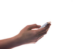 Female hand using smartphone isolated on white Royalty Free Stock Images