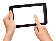 Female hand using touch tablet Royalty Free Stock Photography