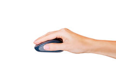 Female hand using wireless computer mouse. Royalty Free Stock Images