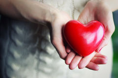 Female hand valentine heart. Female hand valentine red heart royalty free stock photography