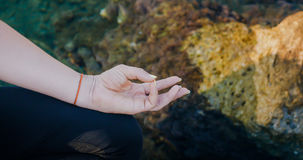Female hand in varun mudra yogic gesture Royalty Free Stock Photos
