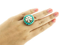 Female hand with vintage or retro ring Royalty Free Stock Photography