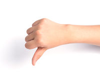 Female hand  on white background ,Unlike sign Stock Photography