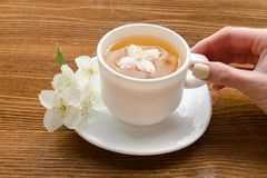 Female hand and a white mug of tea with jasmine on a wooden table. Close-up Royalty Free Stock Photos