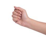 Female hand  on white, rock roshambo sign Royalty Free Stock Photo