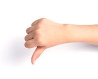 Female hand   on white ,Unlike sign Stock Image
