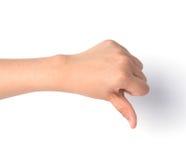 Female hand on white ,Unlike sign Stock Photo