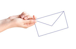 Female hand with the white virtual envelope Stock Photography