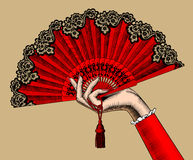Free Female Hand With Red Open Fan Stock Photos - 88815993