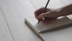 Female hand writes a note in a notebook. A letter to a friend. Poetry in the reflected light.
