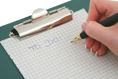 Female hand writing TO DO list Stock Images