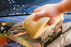 Female hand with yellow sponge washing car Royalty Free Stock Images