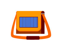 Female handbag with solar panel vector illustration. Stock Photos