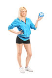 Female handball player holding a ball Royalty Free Stock Photography