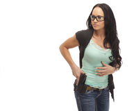 Female with handgun Royalty Free Stock Photo