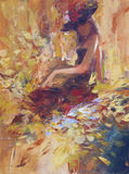 Female , handmade painting. Lovely woman handmade oil painting on canvas Stock Image