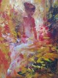 Female , handmade painting. Lovely woman handmade oil painting on canvas Stock Photos