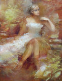 Female , handmade painting. Lovely woman handmade oil painting on canvas Royalty Free Stock Images