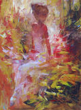 Female , handmade painting. Lovely woman handmade oil painting on canvas Stock Photo