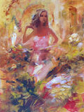 Female , handmade painting. Lovely woman handmade oil painting on canvas Royalty Free Stock Photography