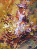 Female , handmade painting. Lovely woman handmade oil painting on canvas Stock Photography