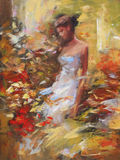 Female , handmade painting. Lovely woman handmade oil painting on canvas Royalty Free Stock Photo