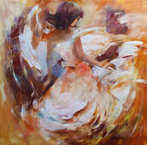 Female , handmade painting. Lovely woman handmade oil painting on canvas Stock Images