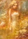Female , handmade painting. Lovely woman handmade oil painting on canvas Royalty Free Stock Photos