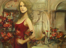 Female , handmade painting. Lovely woman handmade oil painting on canvas Royalty Free Stock Image