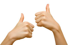 Female hands. Human hands with approving gesture. Isolation Stock Image